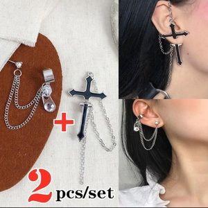 NWT!* Cross, Zipper & Long Chain Drop Earrings Set